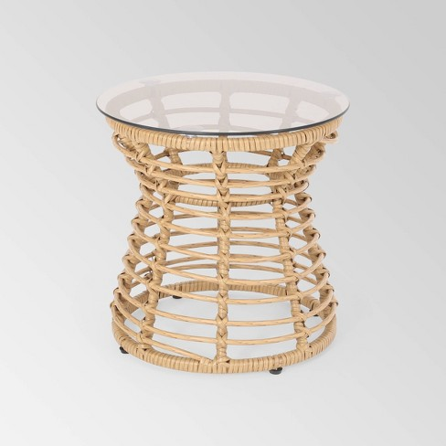 San Pedro Wicker Outdoor Side Table - Light Brown - Christopher Knight Home - image 1 of 4
