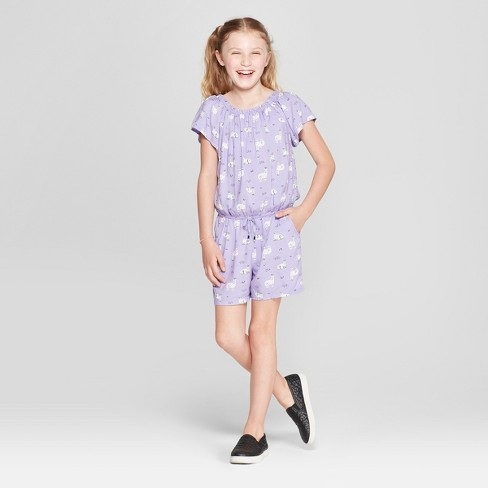 Girls' Romper - Cat & Jack™ Purple - image 1 of 3