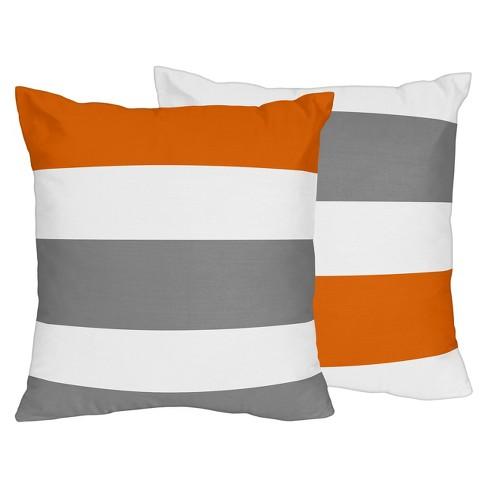 Gray & Orange Stripe Throw Pillow - Sweet Jojo Designs - image 1 of 1