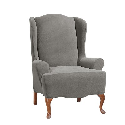 Stretch Morgan Wing Chair Slipcover Gray - Sure Fit