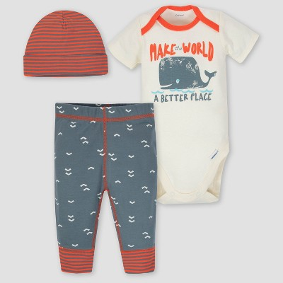 Gerber Baby Boys' 3pc Whale Onesies Bodysuit Pants and Hat Set - Orange/Gray 6-9M
