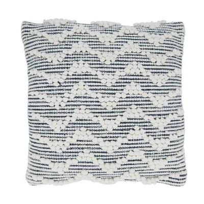 """18""""x18"""" Textured Chevron Design Square Pillow Cover Blue - Saro Lifestyle"""