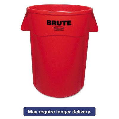 Rubbermaid Commercial Brute Vented Trash Receptacle Round 44 gal Red 4/Carton 264360REDCT
