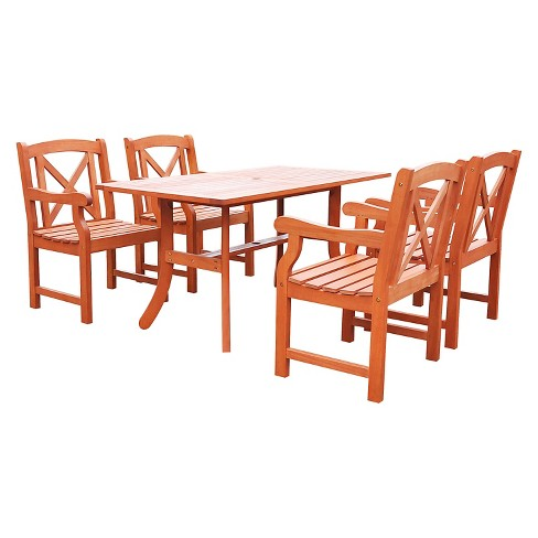 Malibu 5pc Rectangle Hardwood Outdoor Eco-friendly Patio Dining Set - Brown - Vifah - image 1 of 2