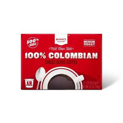 100% Colombian Medium Roast Coffee - Single Serve Pods - 12ct - Market Pantry™