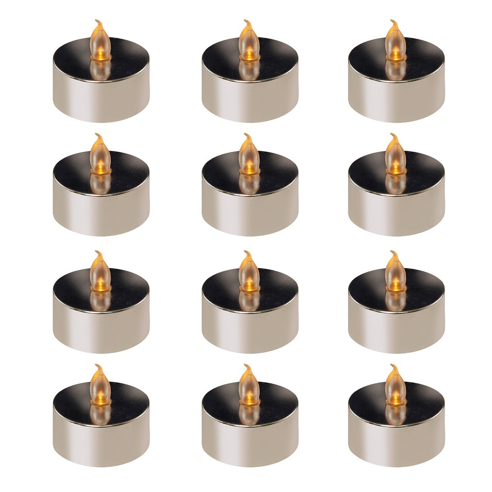 Image of 12ct Battery Operated Flickering LED Tea Lights Silver