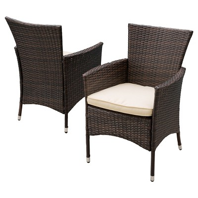Malta Set of 2 Wicker Patio Dining Chair with Cushion- Brown - Christopher Knight Home