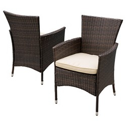 Malta Set of 2 Wicker Patio Dining Chair with Cushions -<br> Christopher Knight Home
