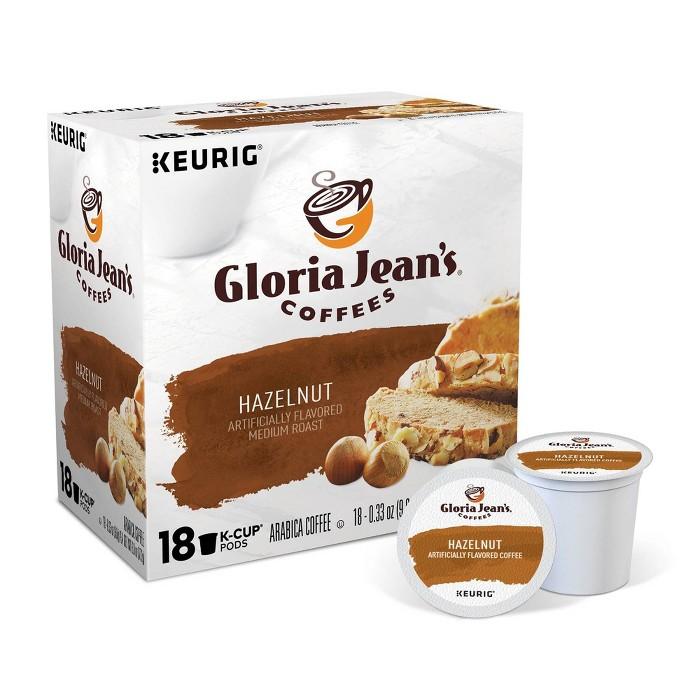 Gloria Jean's Hazelnut, Flavored Coffee Keurig K-Cup Pod, Medium Roast, 18ct - image 1 of 6