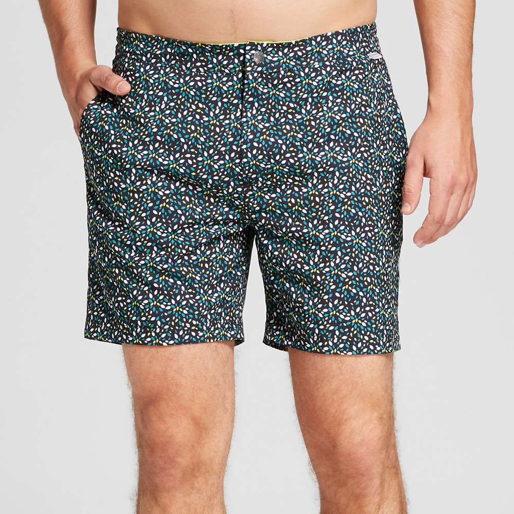 Ibiza Ocean Club Men's Polka Dot 6 Recreational Swim Trunk - Black 32