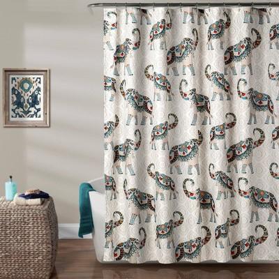 Hati Elephants Shower Curtain Navy - Lush Décor