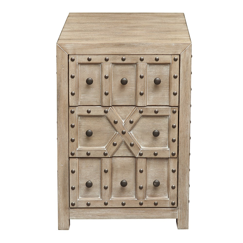 Traditional Styled Overlay Pattern Accent Storage Chest with Industrial Influence - White - Pulaski