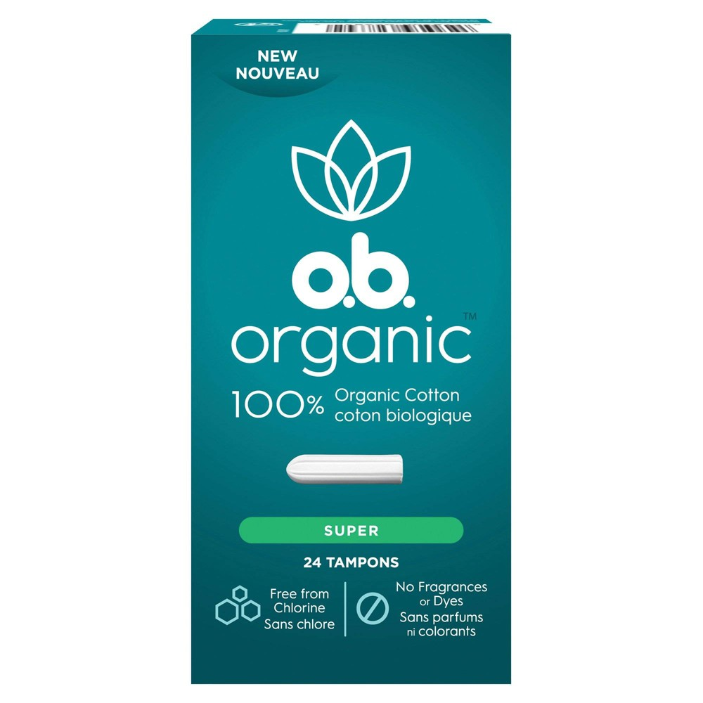 o.b. 100% Organic Cotton Super Absorbency Tampons - 24ct