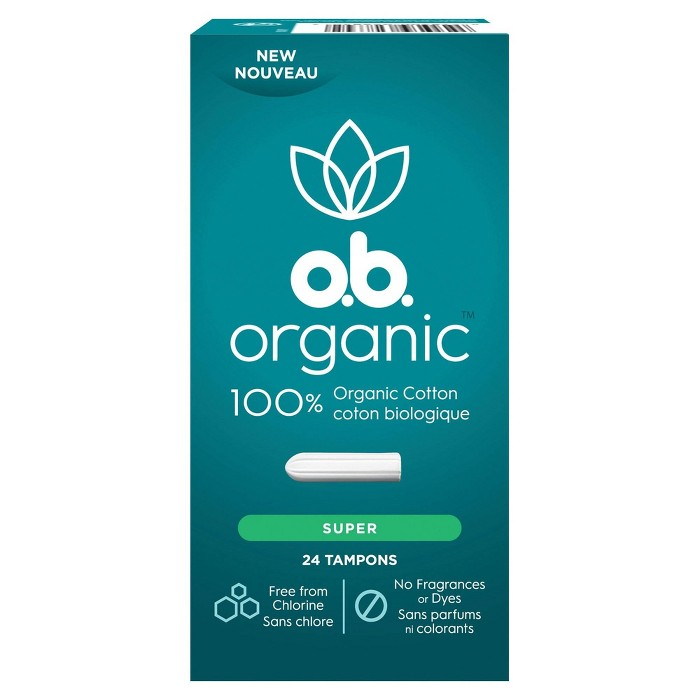 o.b. Organic Tampons - Applicator-Free - Unscented - Super - 24ct - image 1 of 4