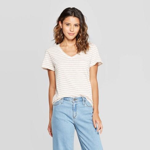 Women's Striped Monterey Pocket V-Neck Short Sleeve T-Shirt - Universal Thread™ - image 1 of 3