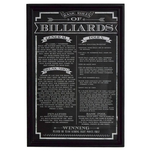 Hathaway Billiard Game Rules Wall Art - Black : Target