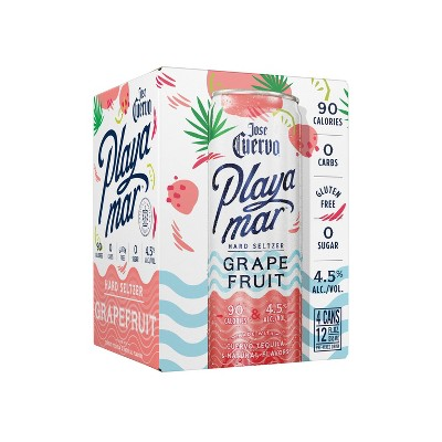 Jose Cuervo Playamar Grapefruit Hard Seltzer - 4pk/355ml Cans