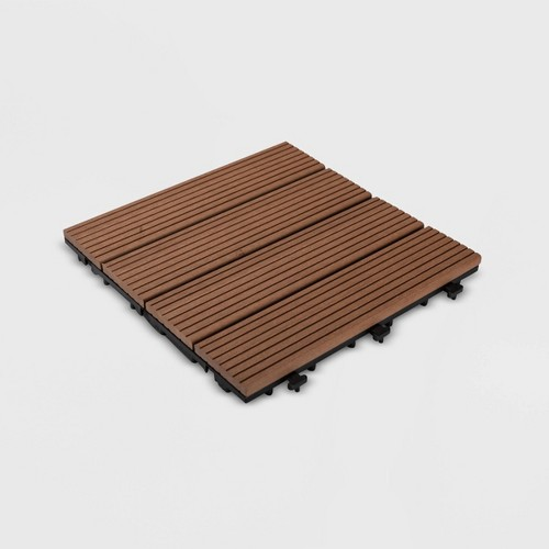 9pk Wood Plastic Composite Decking Tile Set - Brown - Courtyard Casual
