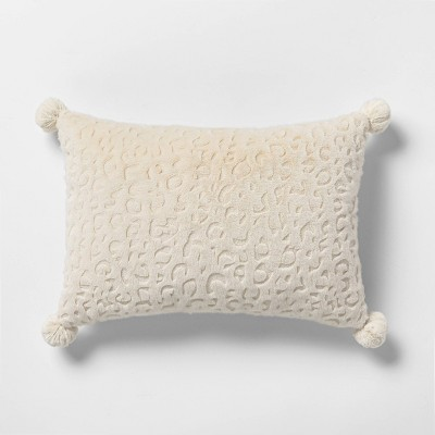 Oblong Faux Fur Embossed Leopard Decorative Throw Pillow - Opalhouse™