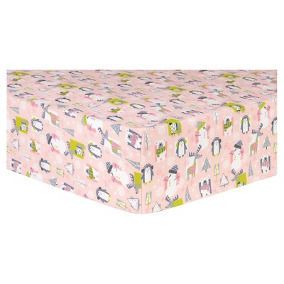 Trend Lab Deluxe Flannel Fitted Crib Sheet - Pink Snow Pals