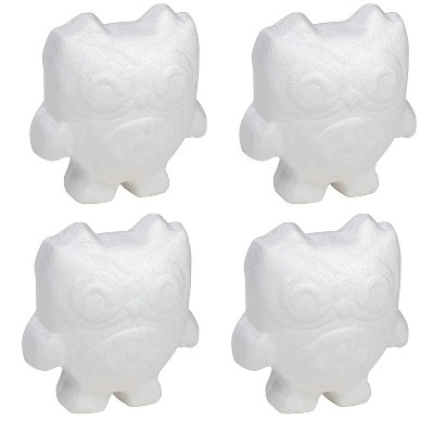 4 Pack Polystyrene Foam Owl, Painting Activity for Kids, DIY Toy Figurine, Arts & Crafts Supplies for School Project, 5.5 inches