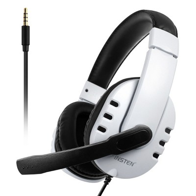 Insten 3.5mm Wired Noise Cancelling Gaming Headset with Microphone - Mic Headphones for PS4, PS5, PC, Xbox, Nintendo Switch Games Controller, White