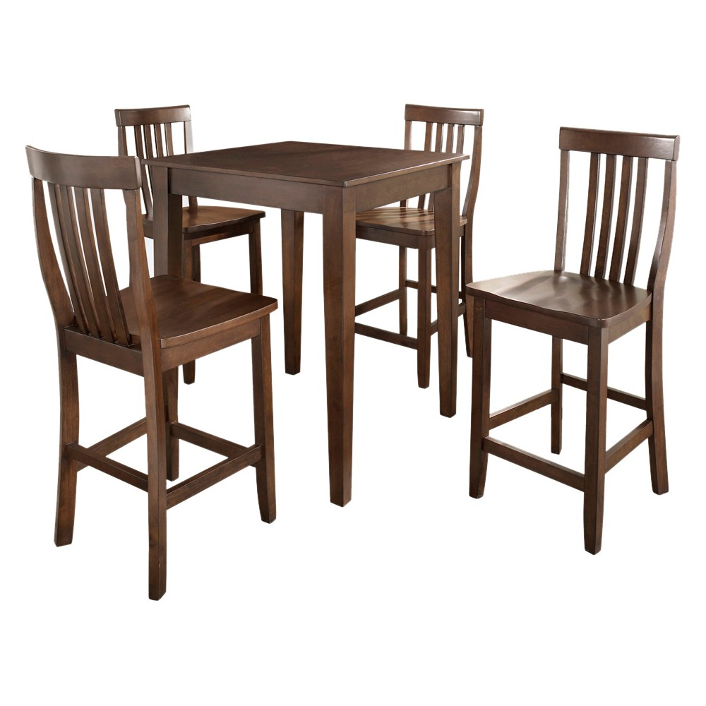 5 Piece Pub Dining Set with Tapered Leg and School House Stools - Vintage Mahogany (Brown) Finish - Crosley