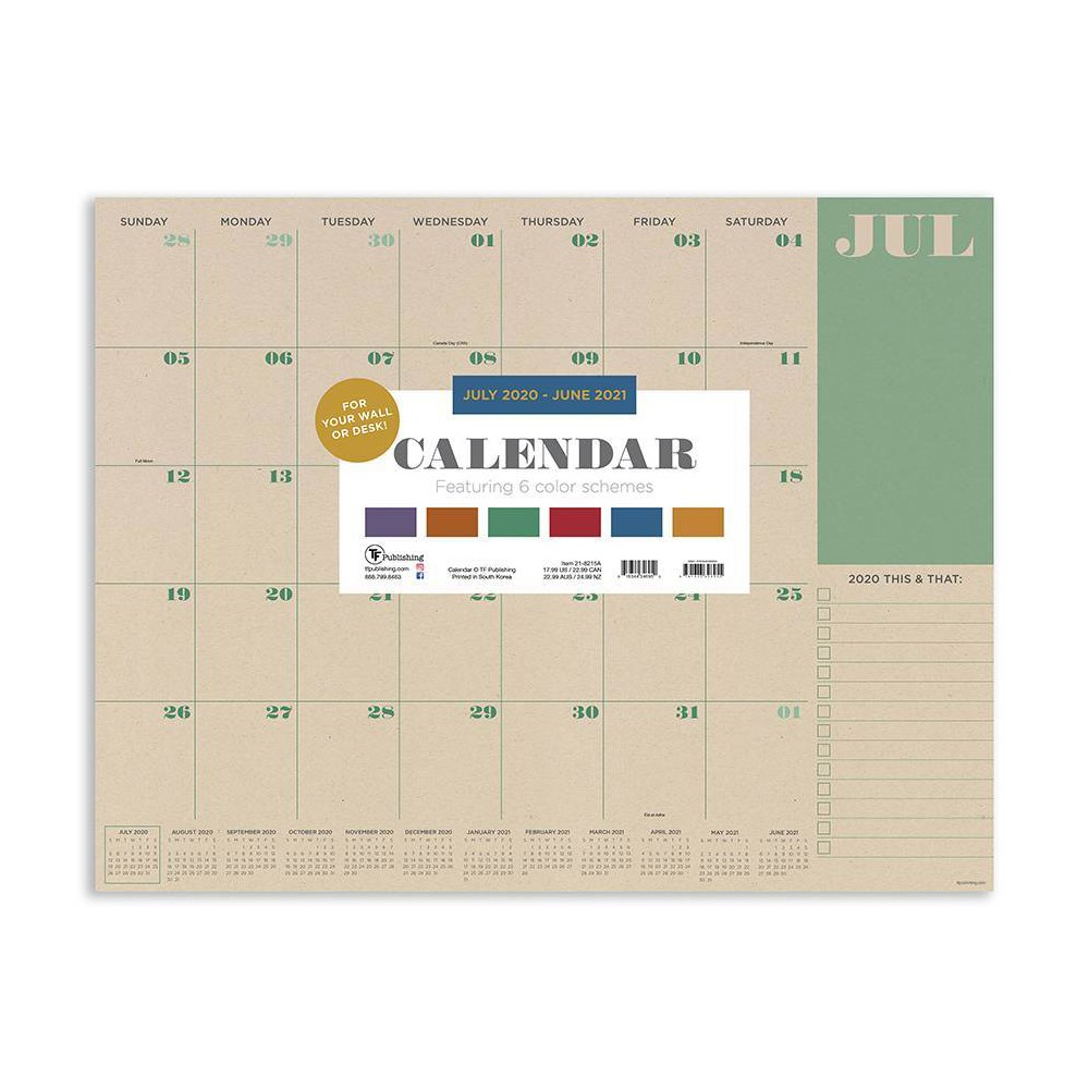 "Image of ""2020-21 Academic Desktop Calendar Kraft Large 17"""" x 22"""" - TF Publishing"""