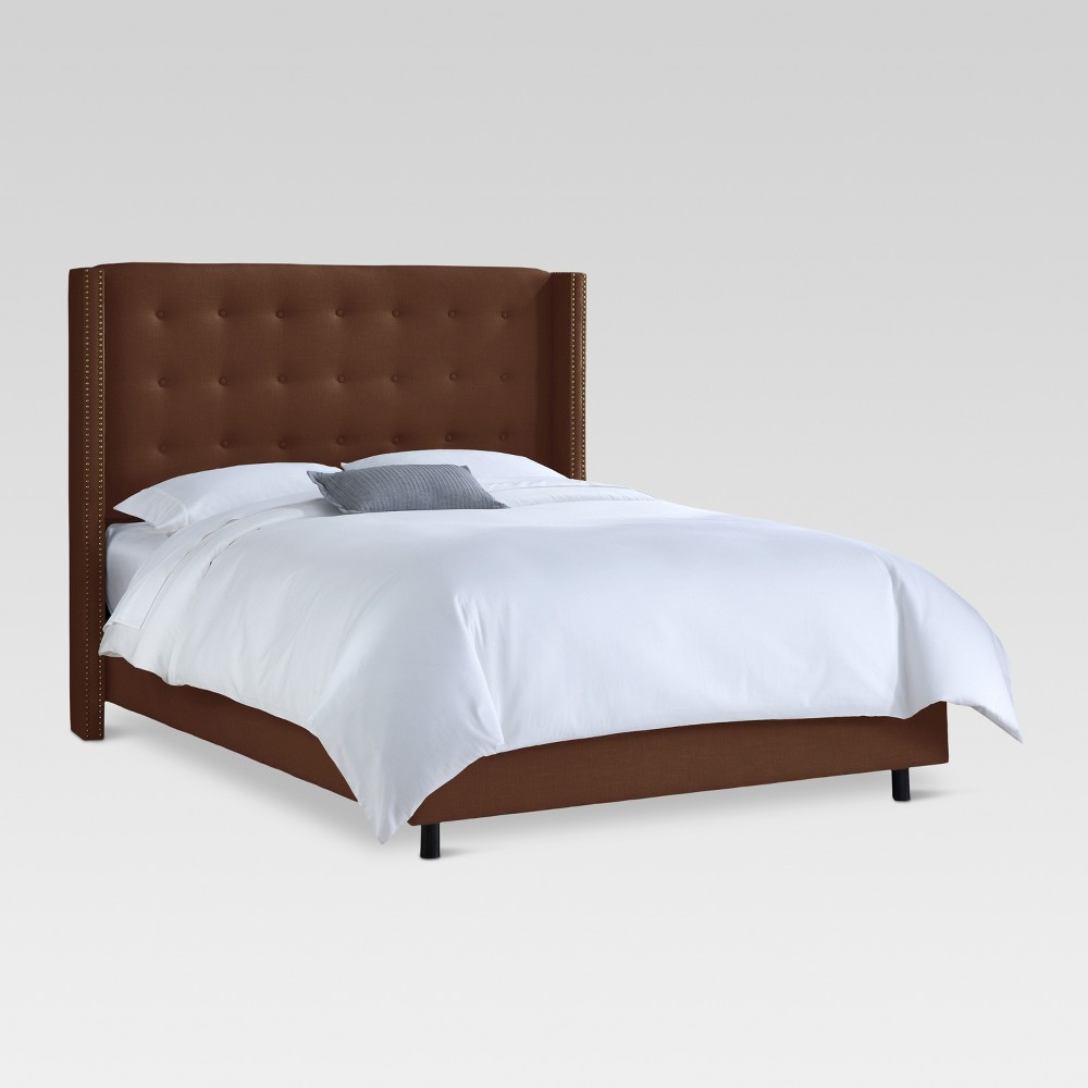 Nail Button Tufted Wingback Bed (Full) Brown - Threshold