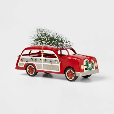 Large Station Wagon with Christmas Tree on Top Decorative Figurine Red - Wondershop™