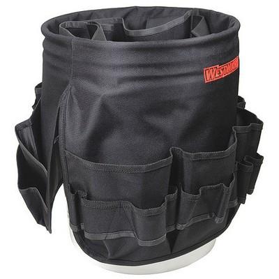 WESTWARD 32PJ51 Bucket Tool Organizer, Polyester, Black