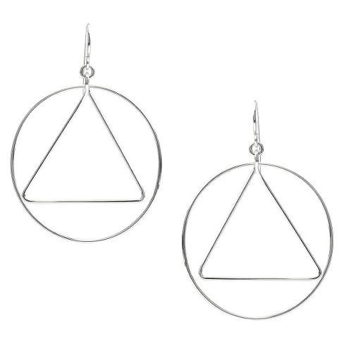 Women's Tressa Collection Sterling Silver Circle Triangle Dangle Earrings - image 1 of 4