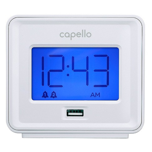 Capello - Dual Alarm Clock with USB Phone Charger - White - image 1 of 3