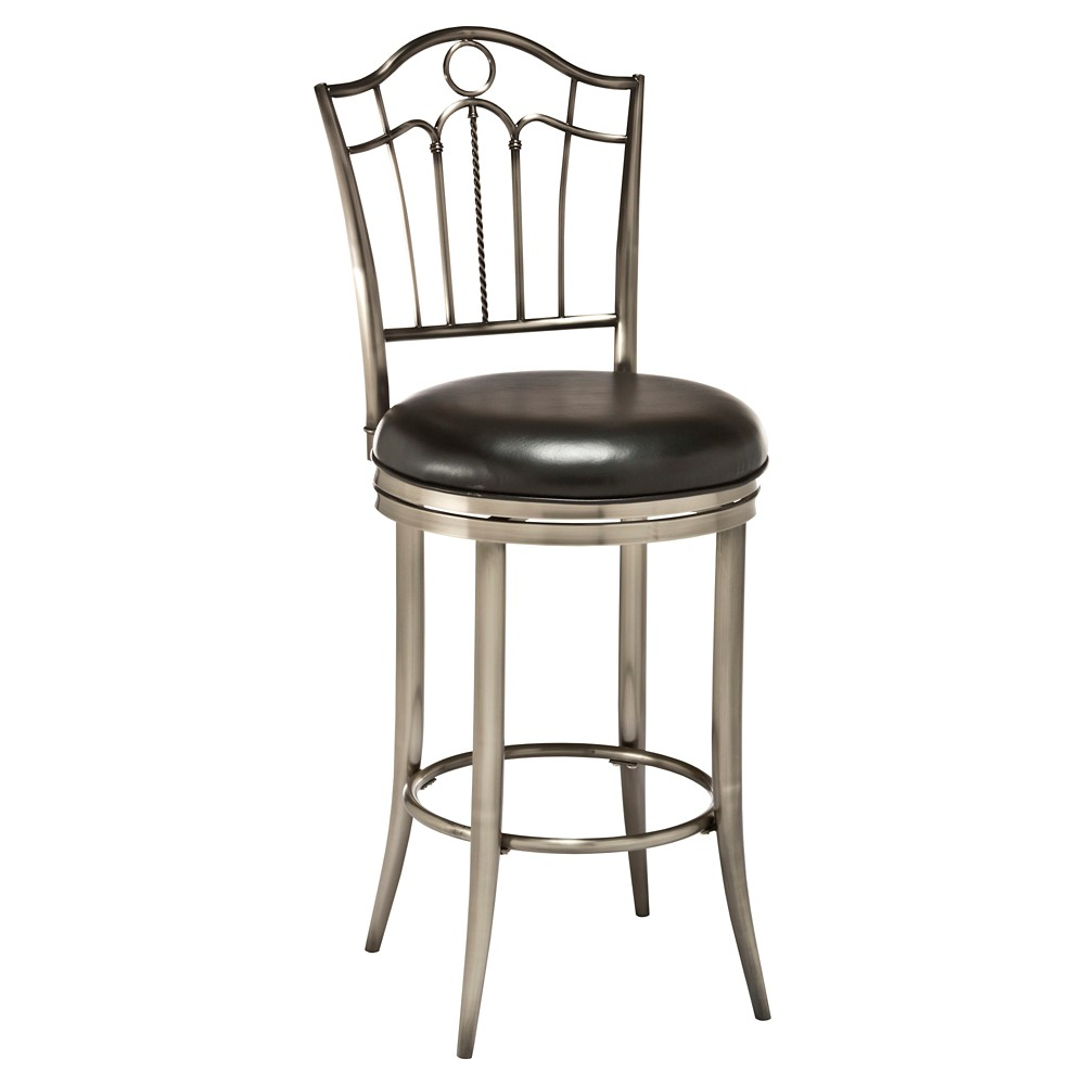 """Image of """"24"""""""" Portland Swivel Counter Stool Metal/Pewter - Hillsdale Furniture, Silver"""""""