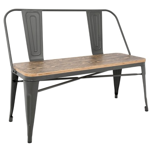 Oregon Dining Entryway Bench With Gray Frame And Brown Wood Lumisource