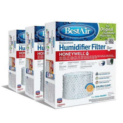BestAir 3pk HW500 Humidifier Air Control Filter for Honeywell