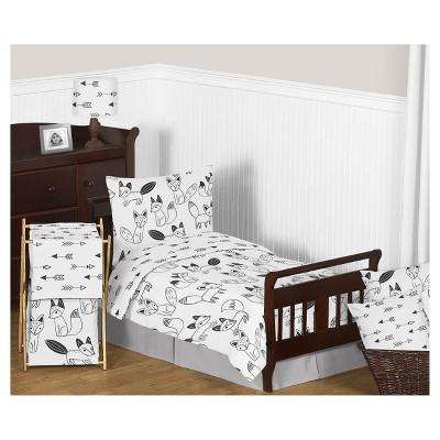 Black & White Fox Bedding Set (Toddler) - Sweet Jojo Designs