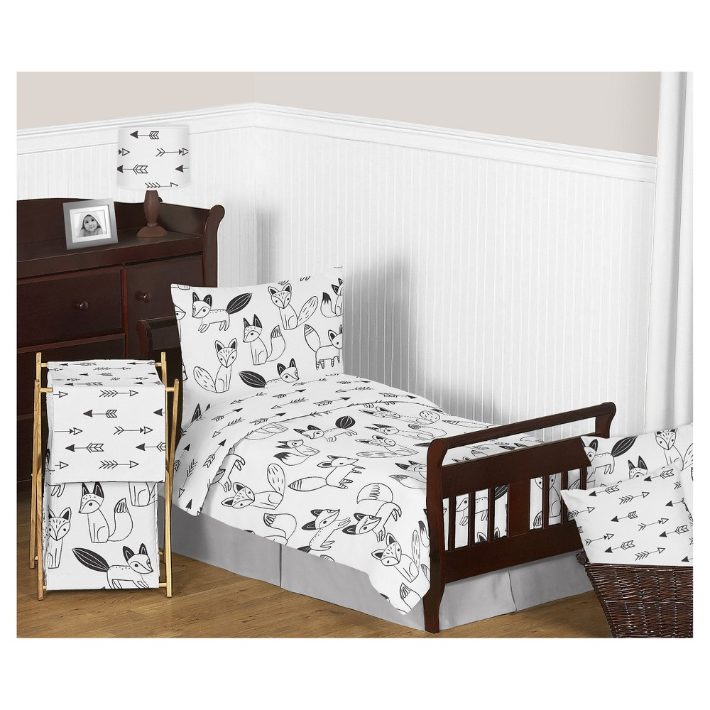 Image of Black/White Fox Bedding Set (Toddler) - Sweet Jojo Designs, White Black