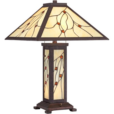 Robert Louis Tiffany Mission Table Lamp with Nightlight Classic Bronze Stained Glass for Living Room Family Bedroom Bedside