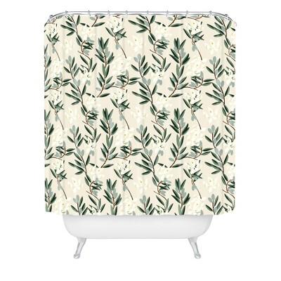 Olive Bloom Shower Curtain Green - Deny Designs