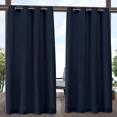 "Set of 2 84""x54"" Outdoor Solid Cabana Grommet Top Light Filtering Curtain Panel Navy - Exclusive Home"