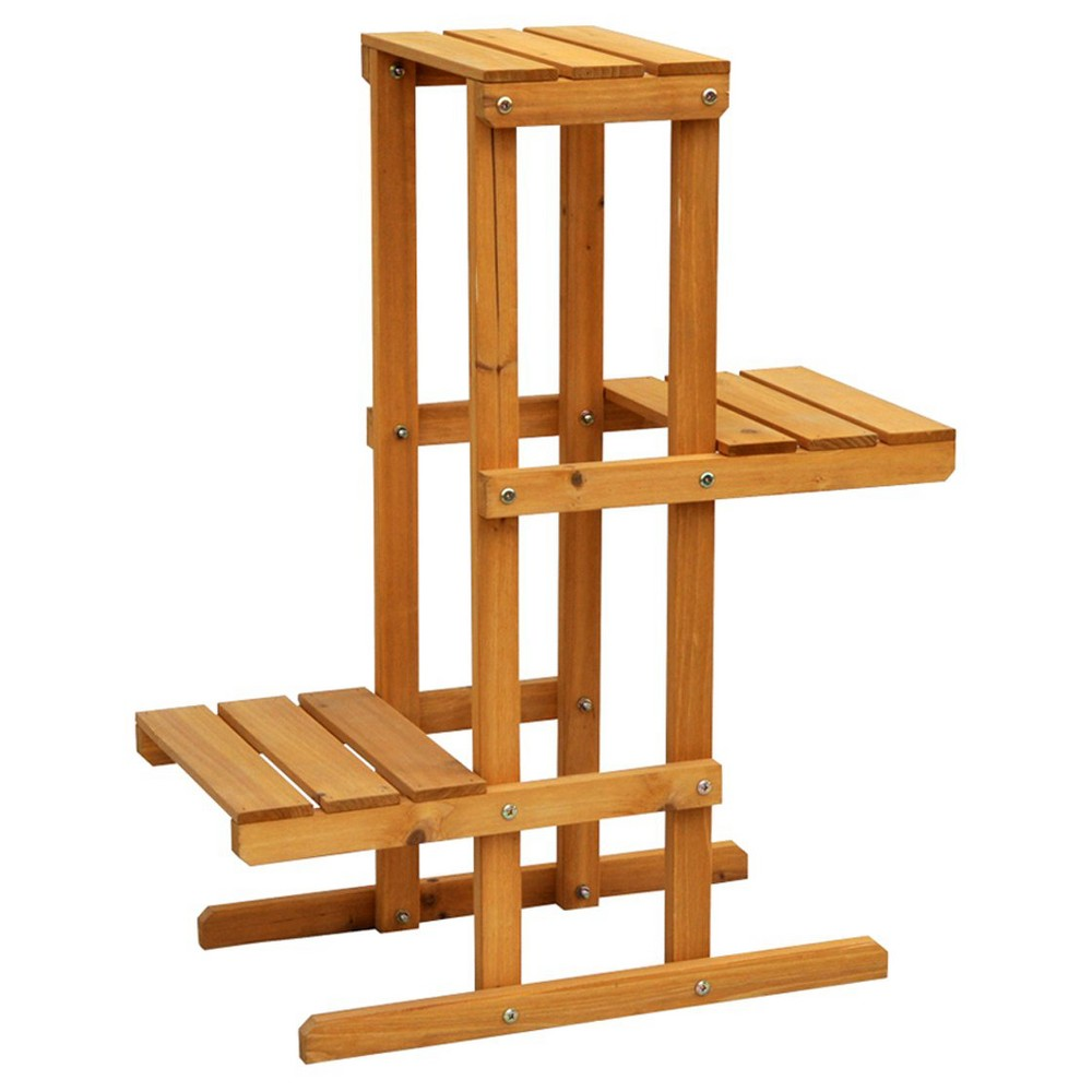 Rectangle 3 Tier Plant Stand - Brown - Leisure Season