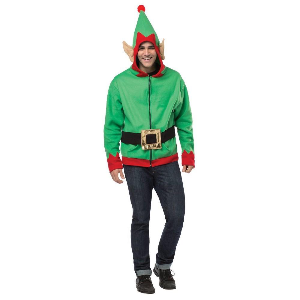 Image of Halloween Adult Elf Hoodie Costume Top M, Adult Unisex, Size: Medium, MultiColored