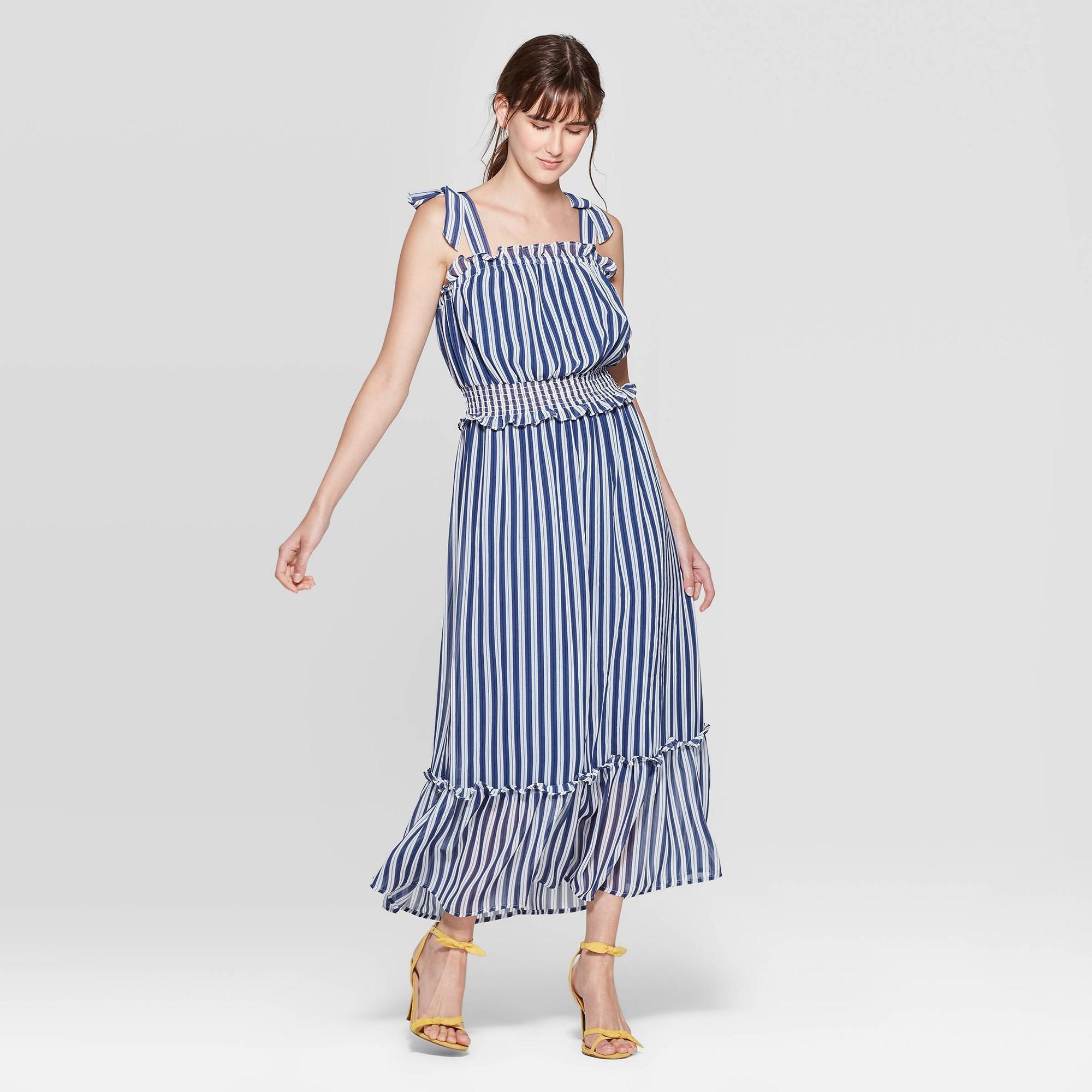 Women's Striped Sleeveless Square Neck Shoulder Tie Column Maxi Dress - Who What Wear White XS, Eco White