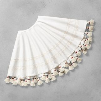 Round Tree Skirt Sour Cream Embroidered with Tassels - Hearth & Hand™ with Magnolia