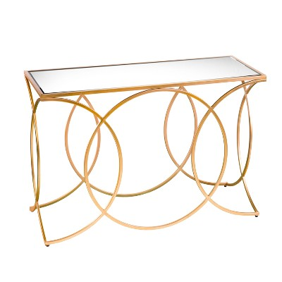 Dashner Geometric Console Table With Mirrored Top Deep Gold - Aiden Lane
