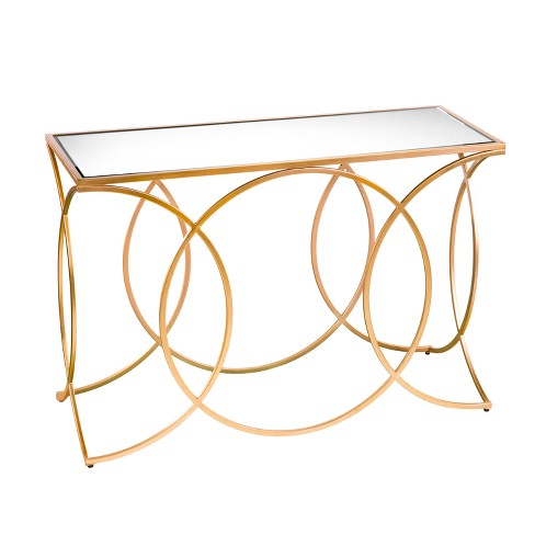 Dashner Geometric Console Table With Mirrored Top Deep Gold - Aiden Lane - image 1 of 6