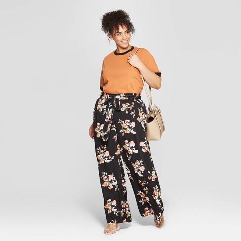 3086bfa8ae8e Women s Plus Size Floral Print Wide Leg Pants - Who What Wear™ Black 2X    Target