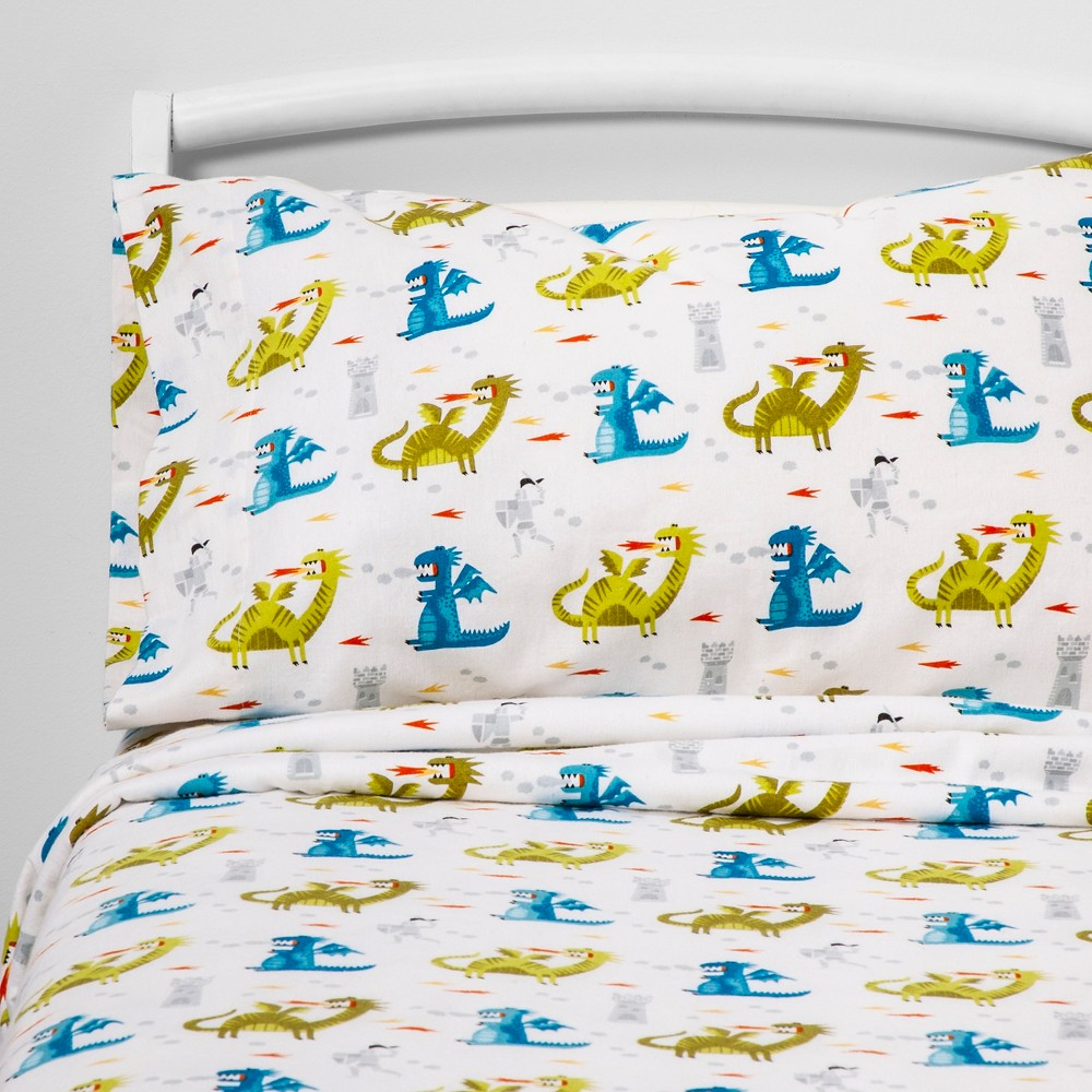 Twin Medieval Manor Flannel Sheet Set - Pillowfort, Multi-Colored