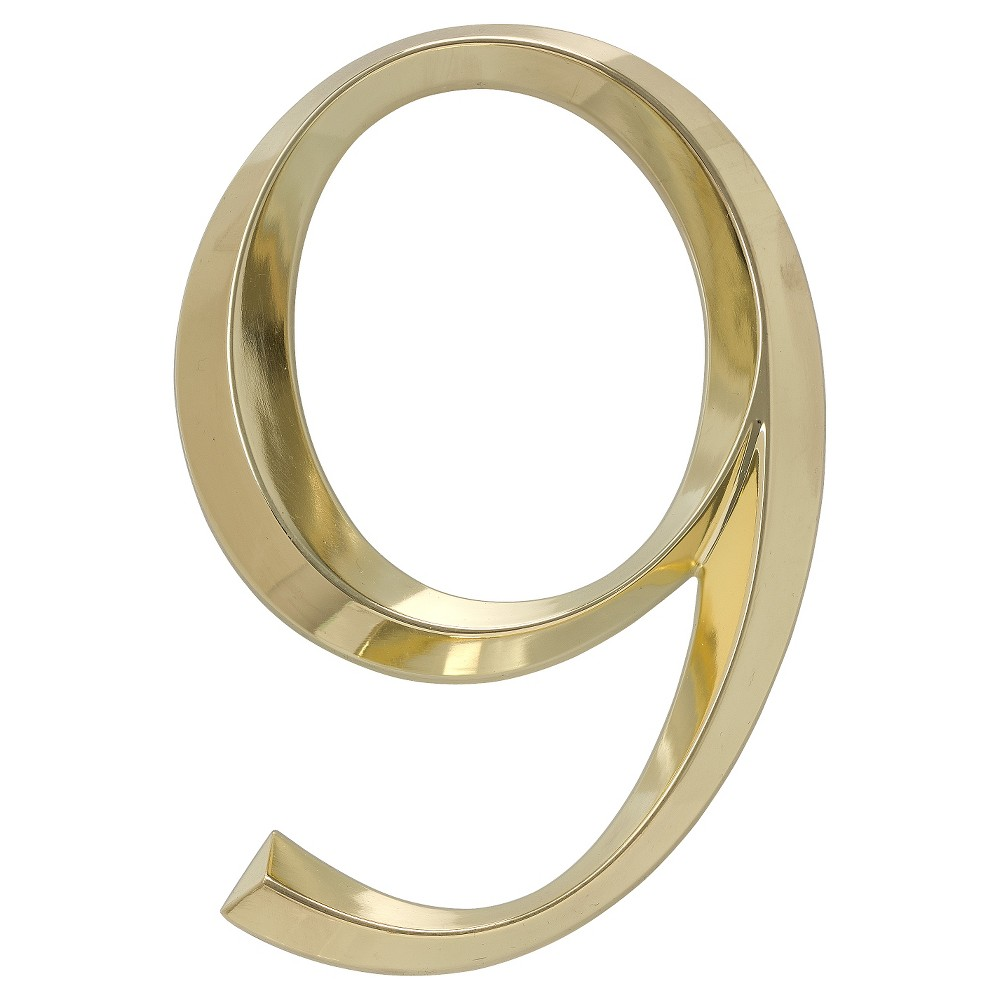 Classic 6 House Number 9 - Polished Brass - Whitehall Products